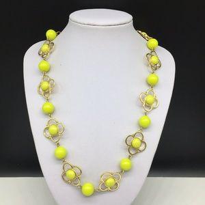 Talbots Yellow Clover Quatrefoil Beaded Necklace